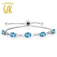 7 00 Ct Blue Topaz Diamond 925 Sterling Silver Adjustable Tennis Bracelet