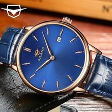 AILANG Montre-Bracelet Mécanique Hommes 1700a Gull Bière Ultra-Mince Shell Étanche Lumineux Pointeur Cadran bande de montre en cuir