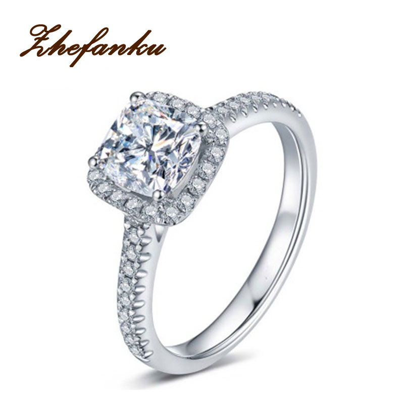 New Square Ring Silver Color Wedding Ring Square Simulated Crystal Wedding Lovers Ring US Size From