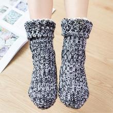 Zuzuwu 2Pairs Women Slipper Socks Sherpa Lined Fleece Knitting Non-Slip Warm Winter Home Socks cow pattern socks 2pairs