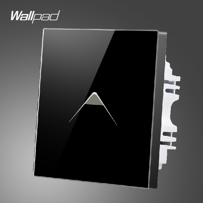 Hot Sales Wallpad UK 1 Gang 1 Way Luxury Black Glass LED Light Power Touch Switch,Free Shipping