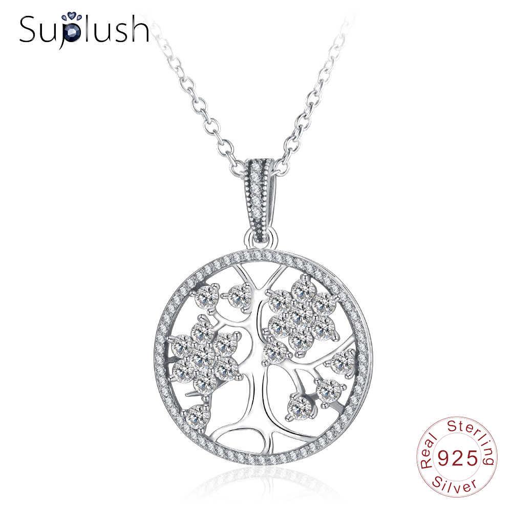 Suplush 925เงินสเตอร์ลิงชีวิตต้นไม้จี้สร้อยคอกลวงรอบผู้หญิงCZของขวัญเครื่องประดับสร้อยคอโซ่C Ollares PSNL0017-B