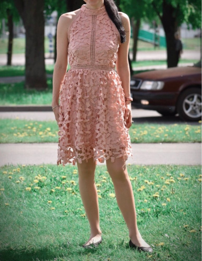 Going Out Pink Party Halter Neck Lace Skater Sleeveless Halter Short Dress Summer Modern Lady Casual Women Dresses photo review