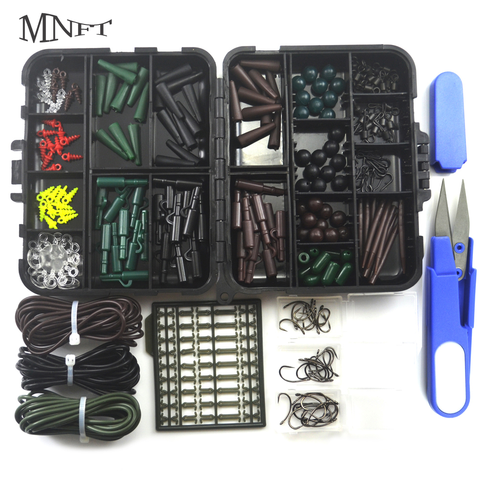 MNFT 1Set Carp Fishing Accessory Combo Carp Fishing Tubes Safety Clips Hooks Sleeves Beads Sleeves Stoppers For Hair Rig Box