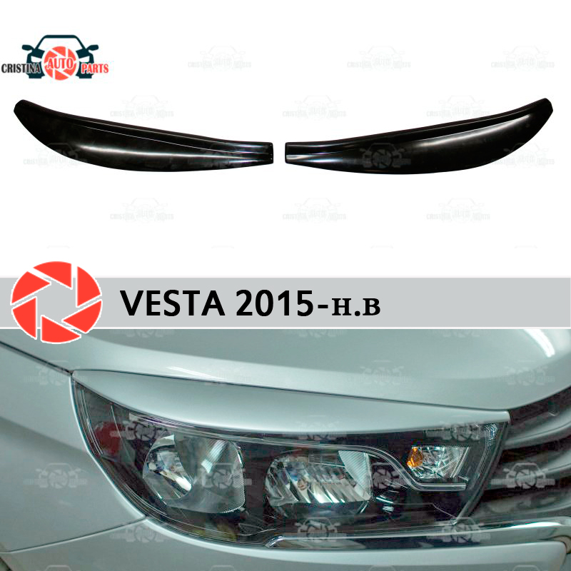 For Lada Vesta 2015- eyebrows for headlights cilia eyelash plastic ABS moldings decoration trim covers car styling tuning большой прикол большой прикол 46 2014