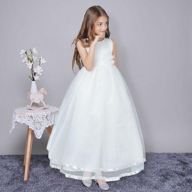 Flower Girl Dress For Wedding Long White Kids Prom Gown Designs ...