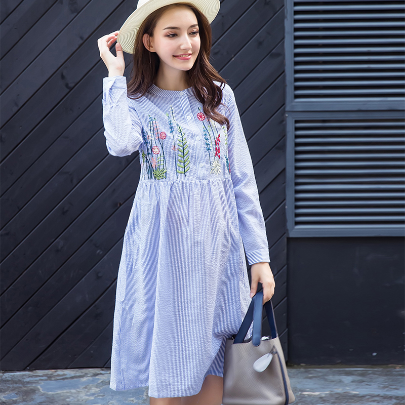 Spring Cute Maternity Nursing Dress For Pregnant Mother Home Clothes M/L/XL/XXL Europe Style gnant Loose Floral Wo