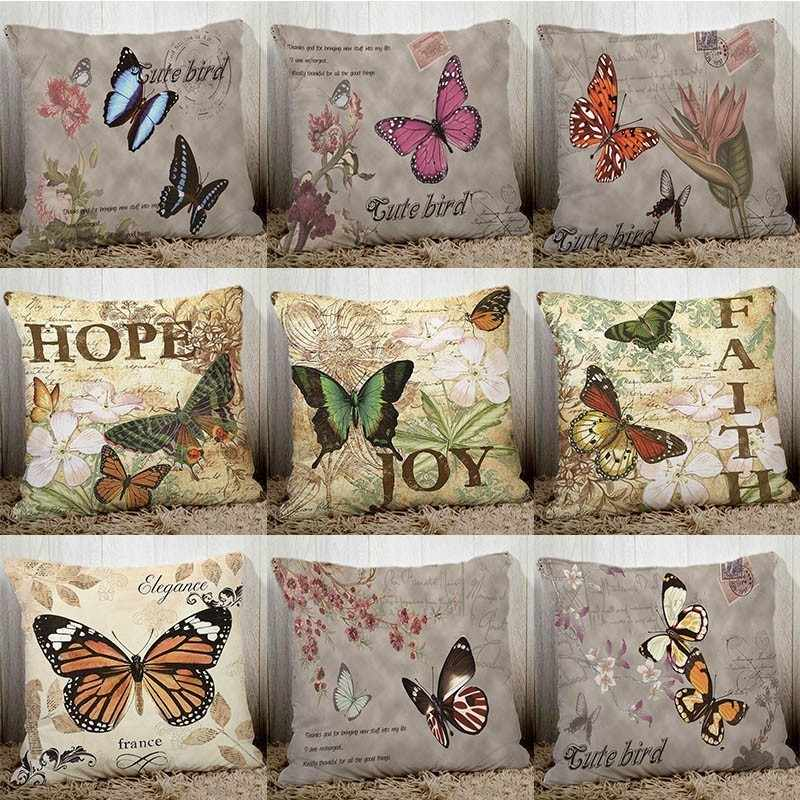 Vintage Butterfly Printed Couch Cushion Cover Retro Home