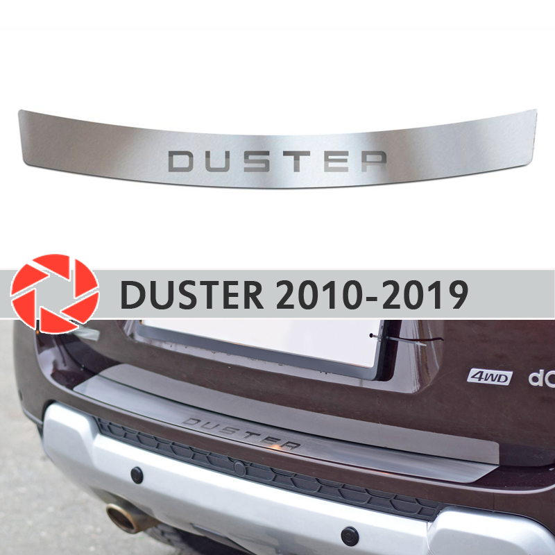 Plate cover rear bumper for Renault Duster 2010-2019 protection plate car styling decoration accessories molding laser letters s25 1156 ba15s p21w car led light bulb 13 smd 5050 brake rear turn signal light bulb leds lamp 12v white red car styling