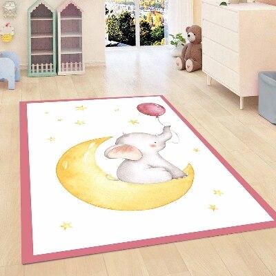 Autre rose frontière éléphants ballon jaune lune étoiles filles 3d antidérapant microfibre enfants chambre décorative tapis tapis