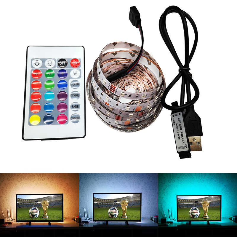 DC 5 V Volt LED Strip Tape 2835 RGB Tahan Air 1-5 M 12 V DC 60LED/ M TV Backlight RGB LED Strip Tape Lampu Diode Fleksibel