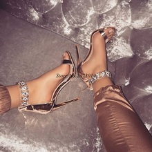 Chic Crystal Heel Sandals Brand Design Sexy Bling Rhinestone High Heel Women Sandals Back Zipper Elegant Party Shoes Women sexy flat rhinestone sandals snake style design flip women s sandals crystal decoration lady cute party silver shoes for dress