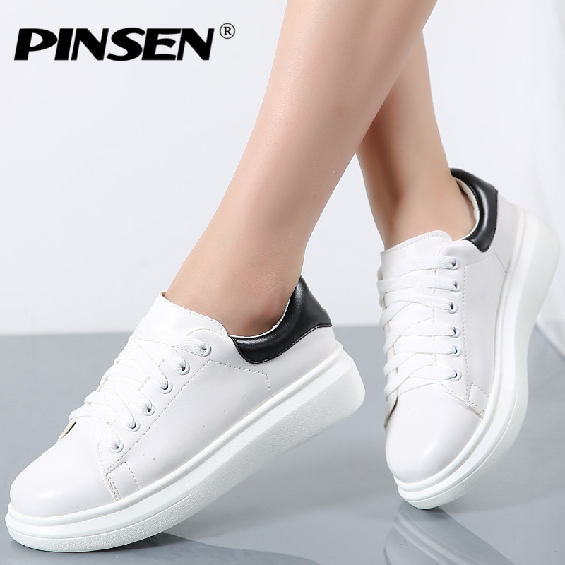 PINSEN 2017 Fashion New Brand Designer White Shoes Woman Platform Loafers Creepers Autumn Lace-Up Flats Casual Shoes for Women 2016 new arrival woman flats genuine leather white women casual shoes platform hot sale designer flat shoes drop shipping