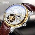 Horloge Mannen Skeleton Mechanische Horloges Tourbillon Moon Phase Mechanische Horloges voor Mannen Waterdichte Lederen Horloge