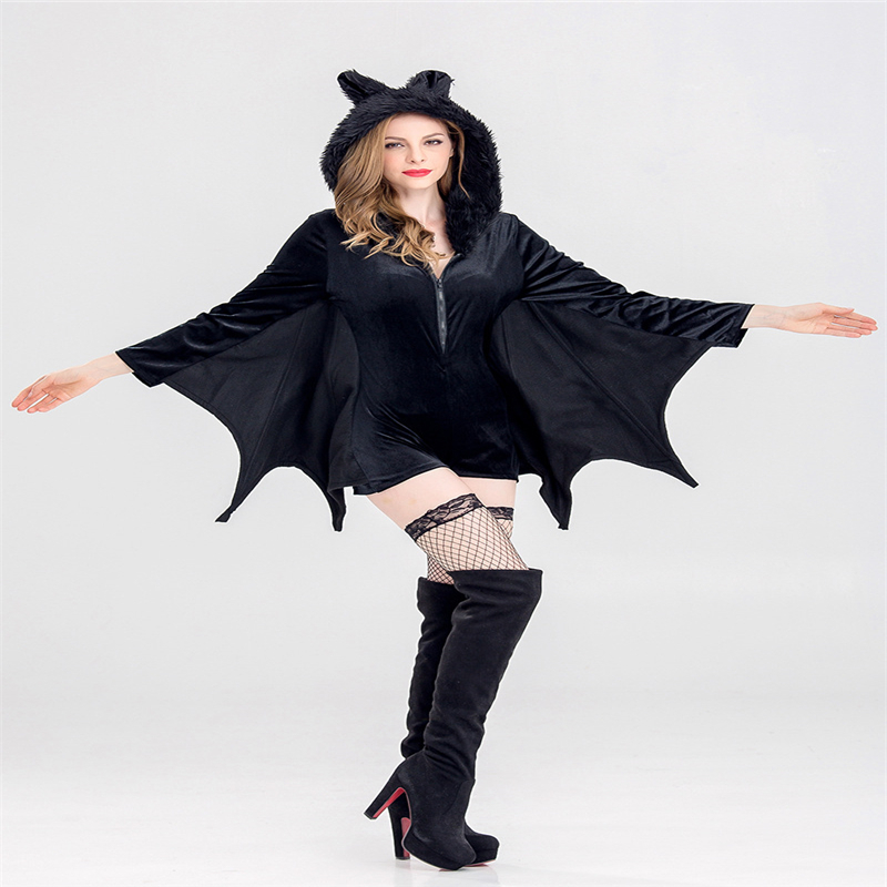 Halloween New Cosplay Queen Witch Bat Party Performance Animal Costume Women Plush Hooded Shorts