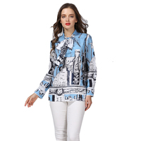 Plus Size 5XL Summer Women Fashion Casual Shirts Designing Character Printed Runway Bow Loose Blouse HIGH