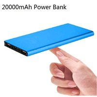 20000mAh Power Bank Ultra-thin LCD Display Portable 2 USB External Battery Pack Charger Power Bank for iPhone Xiaomi Huawei