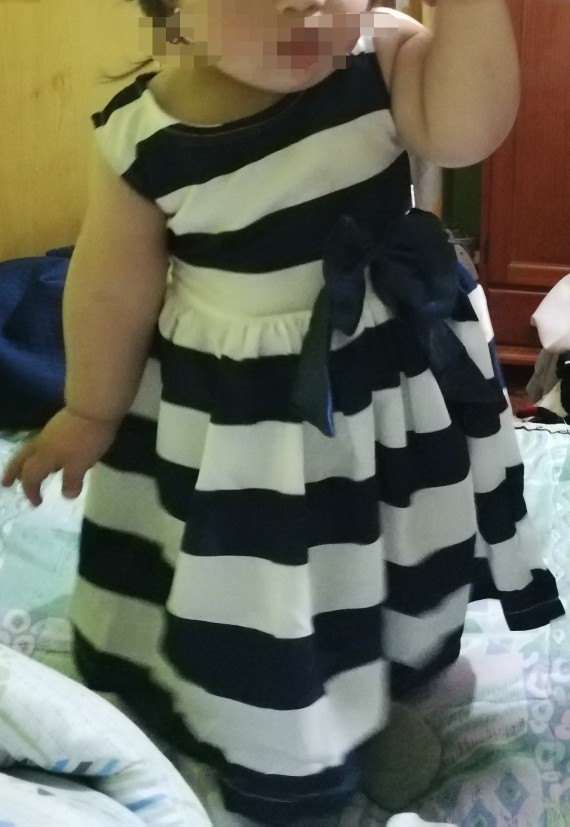 Baby Girl's Striped Bow Embellished Dress photo review