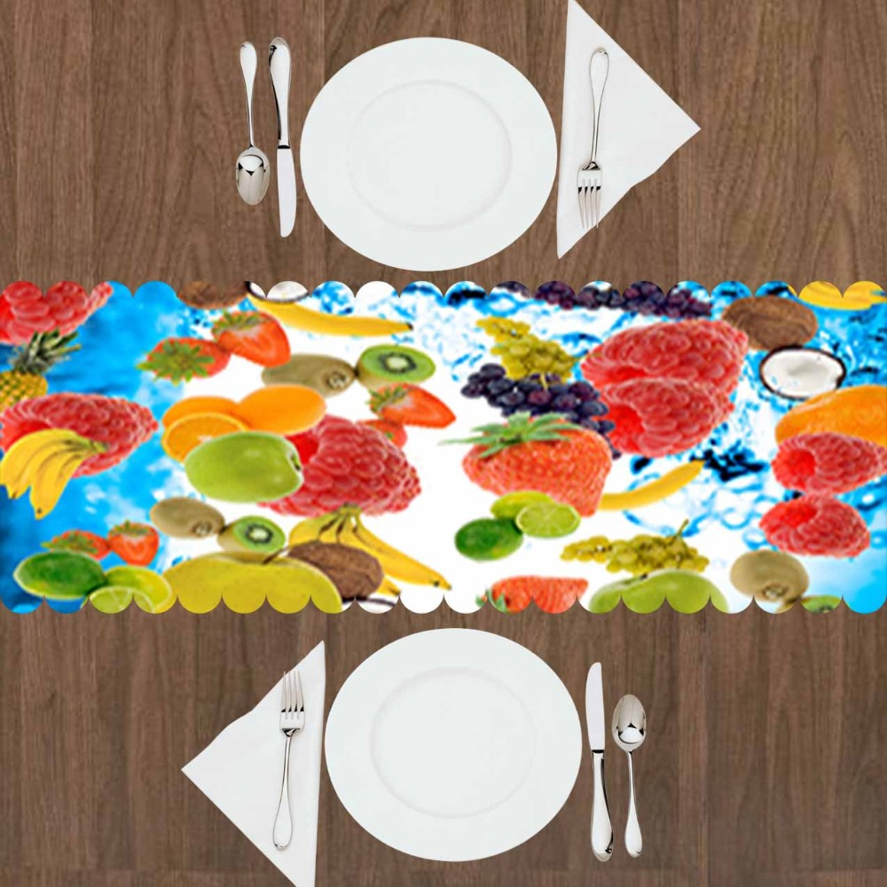 Else Fruits Under Water Strawberry Yellow Banana Kiwi 3d Print Pattern Modern Table Runner  For Kitchen Dining Room Tablecloth