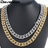 Davieslee 14mm Hiphop Iced Out Curb Cuban Yellow Gold Filled Bracelet W Paved Clear Rhinestones Mens