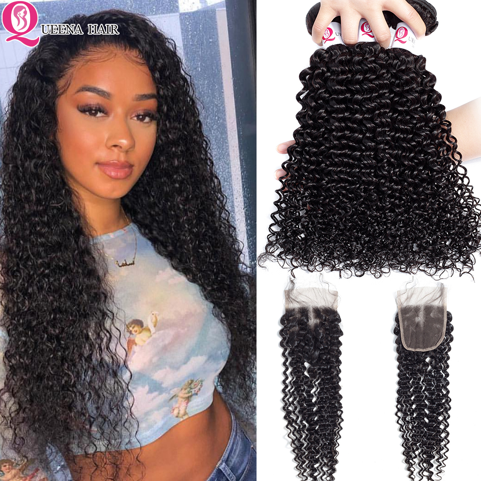 Malaysian Kinky Curly Hair Bundles With Closure Remy Grade 8A Curly Human Hair Weave With Closure With Baby Hair Full Thick Ends