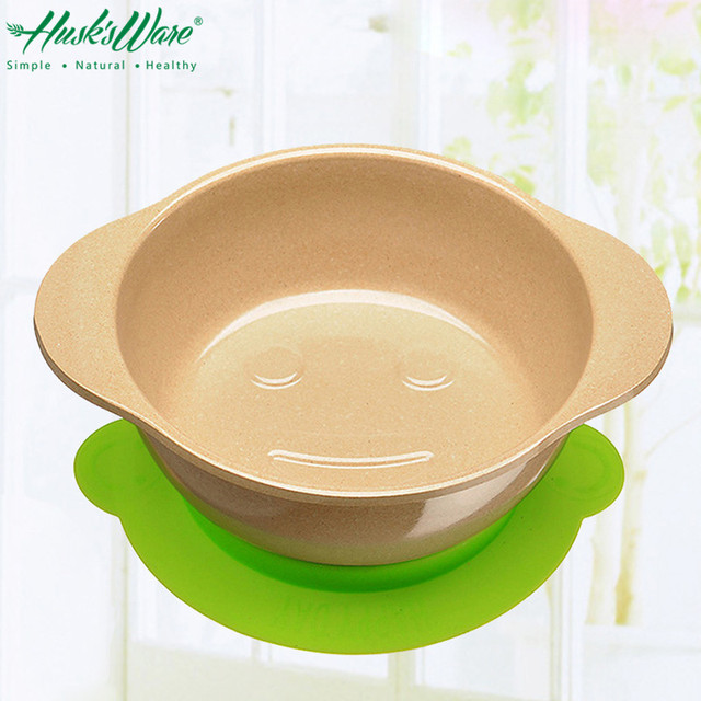 Natural Rice Husk Happy Face Children Baby Feeding Bowl