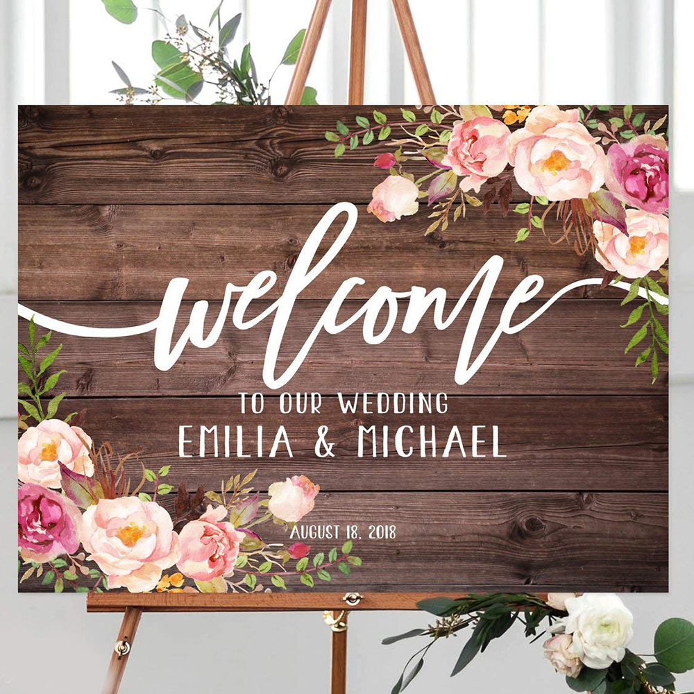 Floral Personalized Wood Wedding Welcome Sign With Flowers