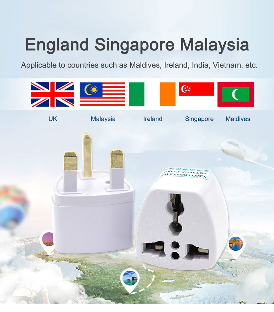 Multifunctional EU US AU to UK Plugs adapter Power Converter Plugs 2 Pin Socket EU to England Travel Charger Adapter Converter (1)