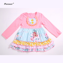 2017 Factory Sale Pink Ruffle Long Sleeves Flower Icing Baby Girls Dresses