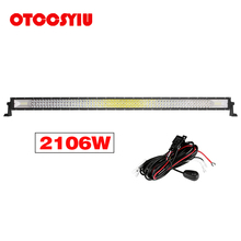 LED Work Light Bar 52 Inch 2106W 210600LM Combo Beam Straight Curved White Car Truck 4x4 SUV ATV Off Road Fog Lamp