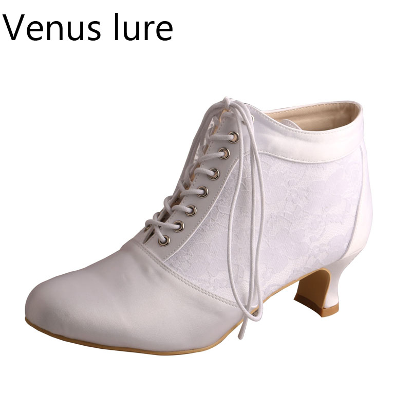 Venus lure Lace-up Short Boots for Wedding Bride Low Square Heel Off-white Lace and SatinVenus lure Lace-up Short Boots for Wedding Bride Low Square Heel Off-white Lace and Satin