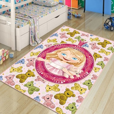 Else Cute Bears And Pink Little Princess Girl 3d Print Non Slip Microfiber Children Kids Room Decorative Area Rug Kids  Mat