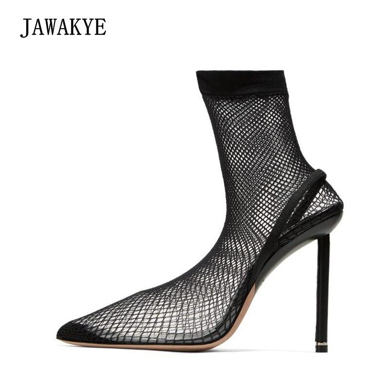 Chaussures de chaussettes noires en résille jréveil Meshy chaussures femmes bout pointu mince talons hauts femmes claires pompes Sexy dames chaussures de fête