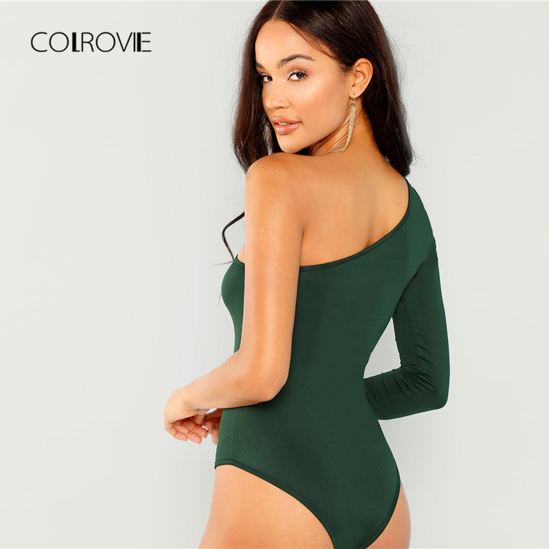 181663c692 COLROVIE Green Solid One Shoulder Girl Sexy Bodysuit Women 2018 Autumn Long  Sleeve Slim Female Skinny Party Basic Bodysuits-in Bodysuits from Women s  ...