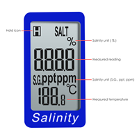 Pen Type Salinity & Temperature Meter ATC Calibration Solution Set ppm / ppt / % / S.G. 4 Units Salt NaCl Water Quality Tester