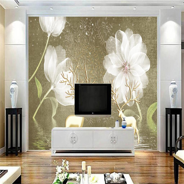 Custom Weiß Blumen Tapeten für Wände 3D Foto Für Wohnzimmer Hintergrund  Home Decor Blatt Malerei Wandbild