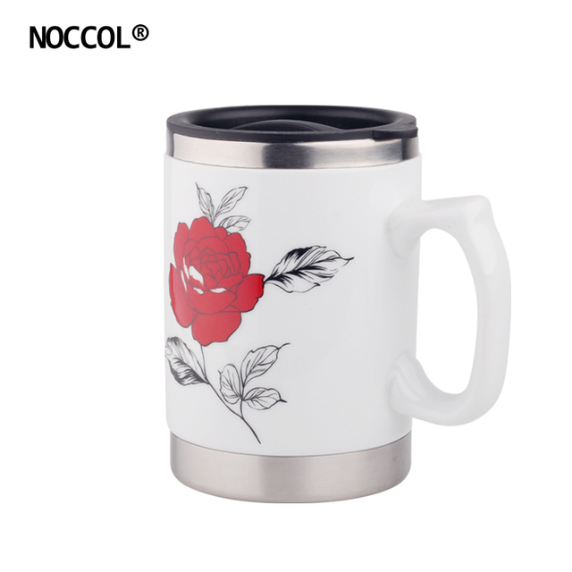 NOCCOL Stainless Steel Ceramic Coffee Mugs White Flower Design Double Wall Tea Cup With Handgrip Lid Home Office Mug