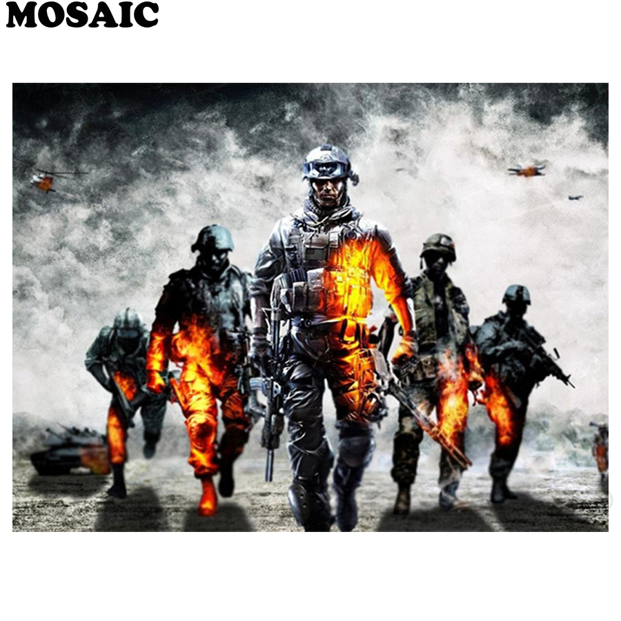 New 5d diy Diamond Painting Cross Stitch,Diamond Embroidery Mosaic soldiers Call of Duty Of Rhinestones Paintings home decor