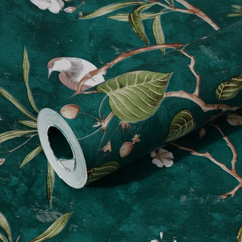 Papier Peint Floral et oiseau Pastoral américain, tapisserie murale Vintage rétro, pommier vert, QZ035