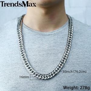 Image 3 - Trendsmax Hip Hop Iced Out Gepflasterte Strass Kubanischen Kette herren Halskette Armband 316L Edelstahl Gold Farbe 16mm KHSM04