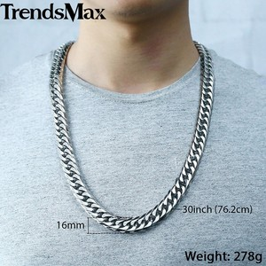 Image 3 - Trendsmax Hip Hop Iced Out Paved Rhinestones Cuban Chain Mens Necklace Bracelet 316L Stainless Steel Gold Color 16mm KHSM04