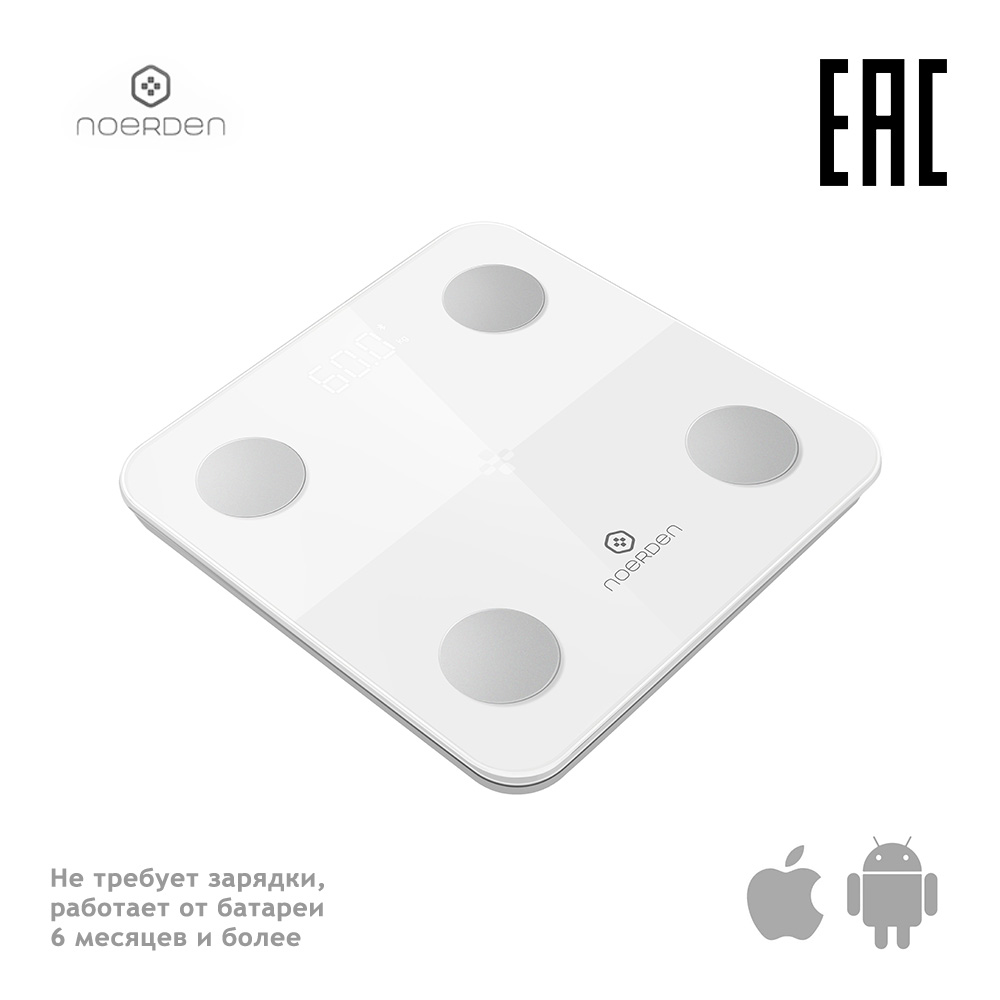 Noerden Smart Scale MINIMI White Fitness Body Fat Index Health Water Floor Electronic Bathroom Bluetooth Test Glass Digital LCD цена и фото