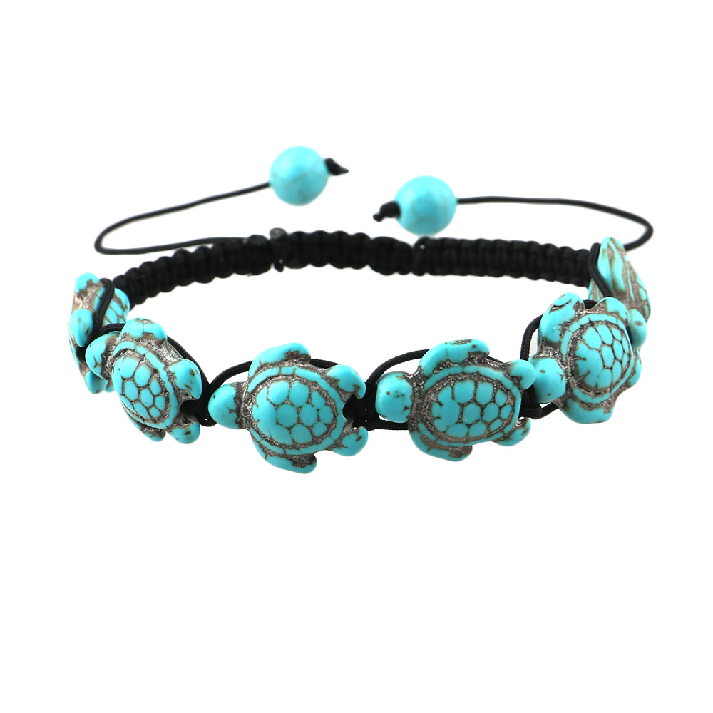 Hot Style Boho Fashion Wrap Jewelry Cute Turtle Beads Bracelets For Women Adjustable Black Rope Braided Hand Chain Bracelet Gift