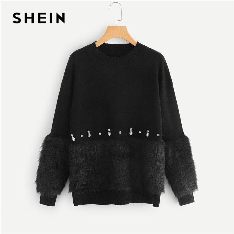 Шеин черный Highstreet элегантный горный хрусталь и искусственный мех украшенные сплошной свитер осень 2018 г. кампус для женщин пуловеры для