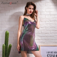 FestivalQueen 2018 sexy halter metal party dresses fashion colorful summer backless sequins festival beach mini dress women