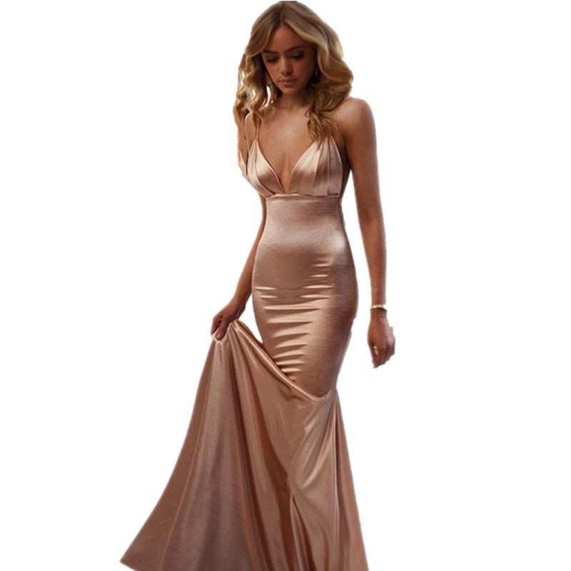 Cinderella Sexy Champagne Spaghetti Straps Floor Length Mermaid Satin Bridesmaid Dresses Pink Wedding Party Dresses