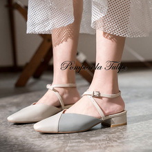 BHS 901143 Chic Square Toe 3CM Heels Slingback Genuine Leather Stylish Sandals Sheepskin Fashion Women Shoes Party Wedding