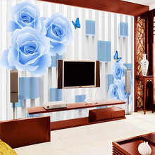 Rose Butterfly 3D TV background wall professional production wallpaper mural custom photo