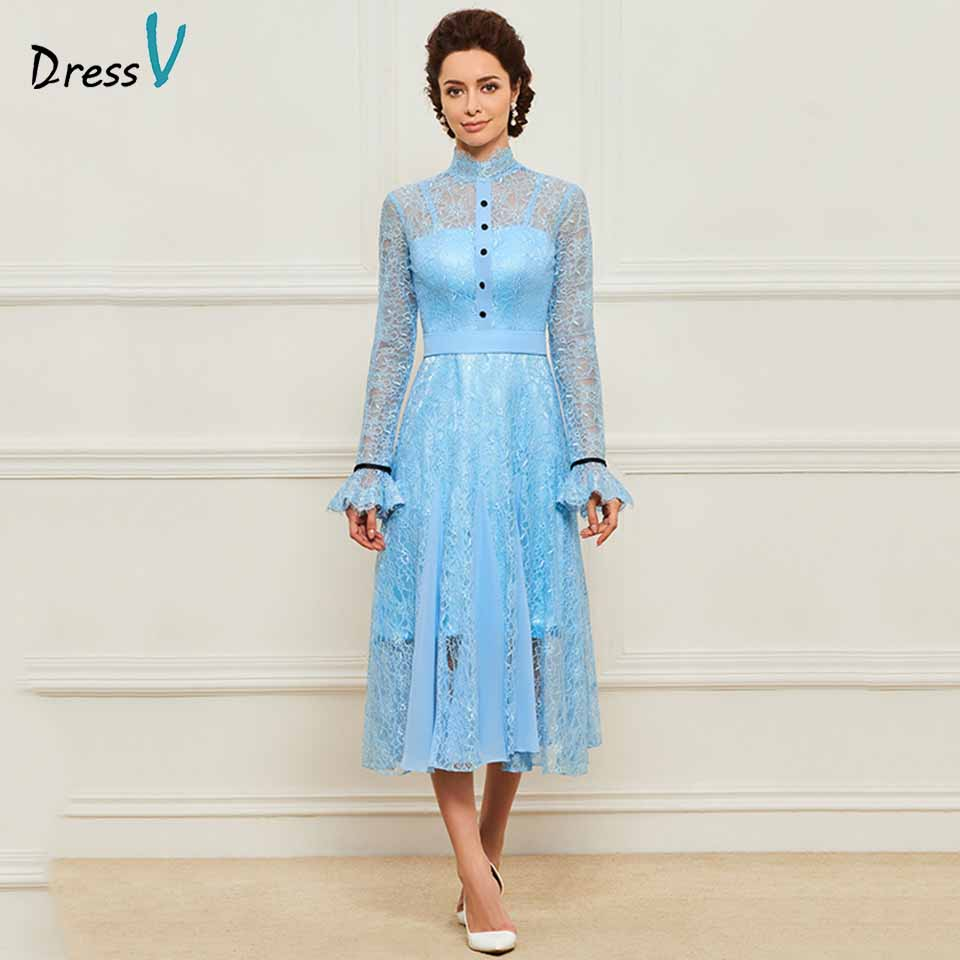 Dressv Ice Blue High Neck Beading A Line Mother Of Bride Dress Long Sleeves Lace Long Mother Evening Gown Custom Mother Dress