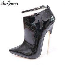 3e06658c41 Sorbern Pointy Toes Ankle Boots Para Mulheres De Salto Alto De Metal  Brilhante 18 cm Queda